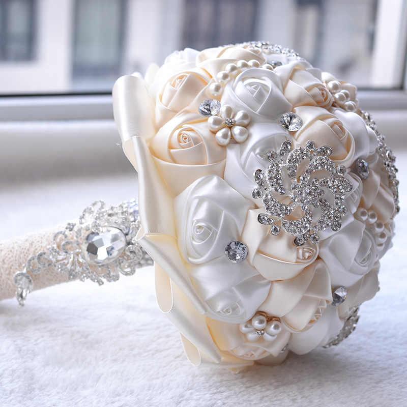 Свадебный букет невесты с жемчужинами, букет круглый