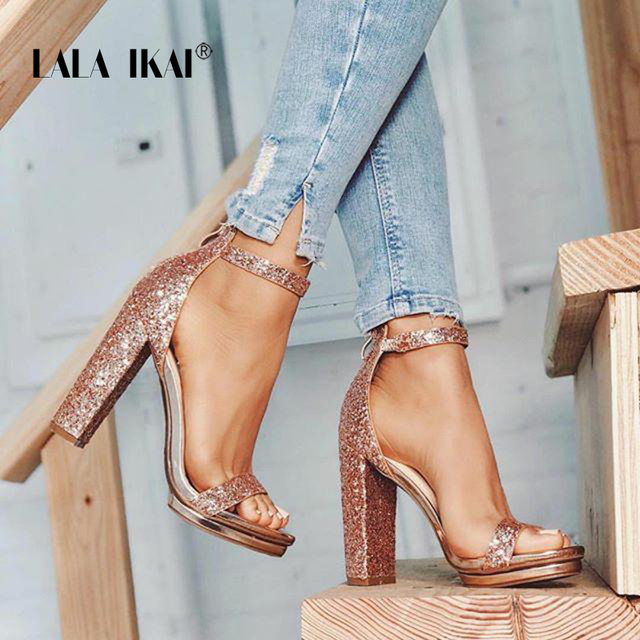 23f2a7b00 LALA IKAI Platform High Heels Women Wedding Peep Toe Sequins Sandals Party  Bling Shoes Square Heel