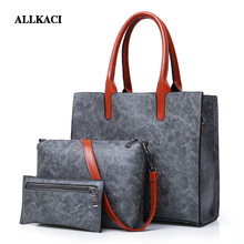 2018 New Women Bags Set 3 Pcs Leather Handbag Large Tote Ladies Shoulder Bag Handbag+Messenger Bag+Purse Sac a Main48