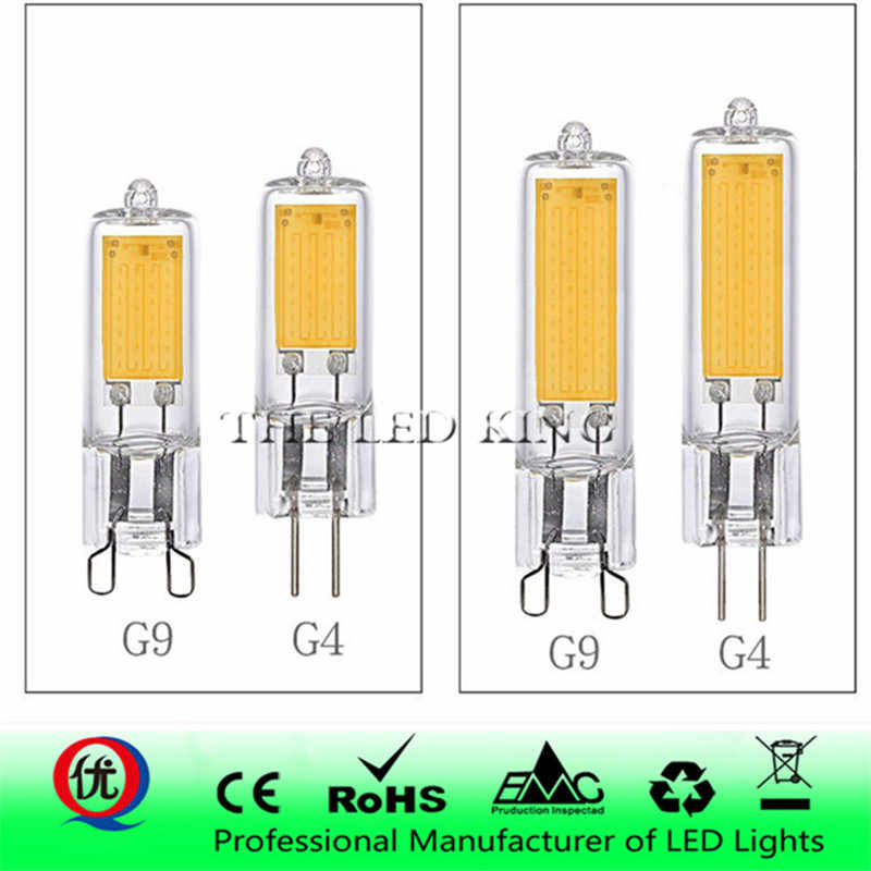 G4 G9 LED Light Bulbs Dimmable 7W 9W COB Glass LED Lamps Replace 40W 60W Halogen Bulb for Pendant Lighting Fixture Chandeliers