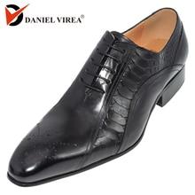 Erkekler elbise düğün ayakkabı klasik siyah kahve rengi lüks marka ofis resmi sivri burun katı oxford hakiki deri erkek ayakkabı