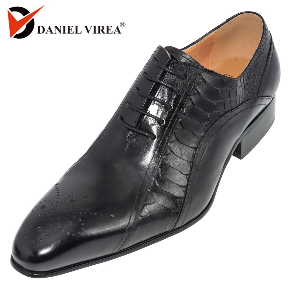 Hommes robe de mariage chaussures classique noir café couleur de luxe marque bureau formel bout pointu solide oxford véritable cuir hommes chaussure-in Chaussures d'affaires from Chaussures    1