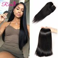 Peruvian Virgin Hair With Closure Human Hair Bundles With Lace Closure 8A Unprocessed Peruvian Straight Virgin Hair