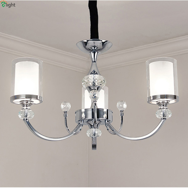 Modern Lustre Crystal Led Chandeliers Lighting Chrome Metal Dining Room Led Pendant Chandelier Living Room Hanging Light Fixture