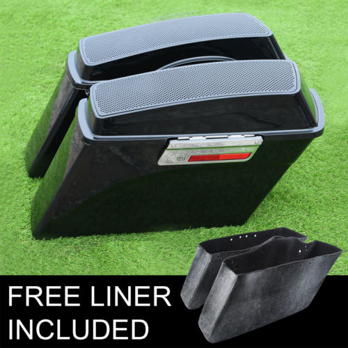 Bags & Luggage Black 6x9 Speaker Hard Saddlebags+lid Latch For Harley Road King Road Street Glide 94-13 Vivid And Great In Style
