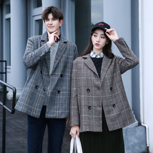 fb48f5b4662e College Style Fabric Coat Single Pcs Grey And Coffee Color Available Fashion  Trends Boyfriend Grid Double Breast Button Jacket-in Basic Jackets from  Women s ...