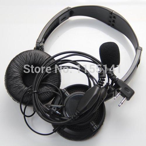 2-Pin Overhead Earpiece Headset Boom Mic Noise Cancelling For Icom Maxon Yaesu Vertex Two Way Radio