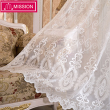 MISSION Decorative Semi jacquard Lace White Sheer Curtain Tulle Voile Panel Window for Living Room Kitchen Bedroom Door
