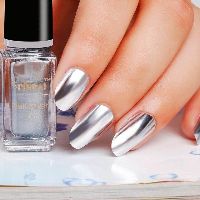 1 Pcs 6ml Mirror Nail Polish Metallic Lacquer Silver Nail Mirror ...