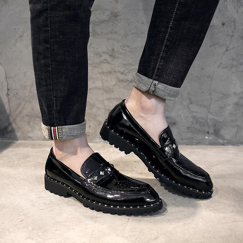 En Hommes Verni Nouveaux Fond Cuir Diamant Paillettes Bateau Richelieu Male Appartements Rivets Mou Noir Casual Chaussures lKcFJ13T