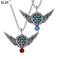 KLDY Angel Wings Necklace Archangel Gabriel Love Couples or Best Friends Set Charms Royal Blue Red Pendant Necklaces wholesale