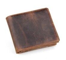 Free Shipping 100% Genuine Leather JMD Vintage Short Fold Wallets For Men Pocketbook Billfolds # 8056