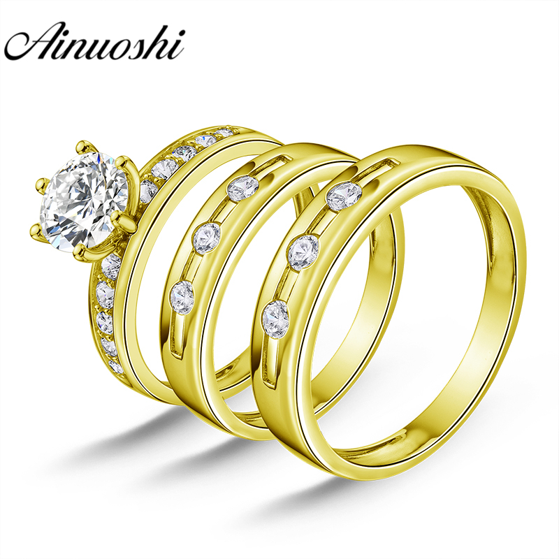 AINUOSHI Real Gold TRIO Rings Bezel Setting Bridal Rings Male Band Engagement Jewelry 14K Yellow Gold Couple Wedding Rings Set