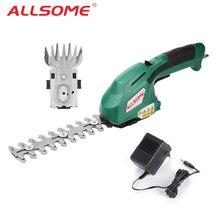 Электрический триммер ALLSOME 2 в 1, 7,2 в, литий-ионный, беспроводной триммер для живой изгороди, перезаряжаемый, для прополки, ножницы, для домашней обрезки, косилка