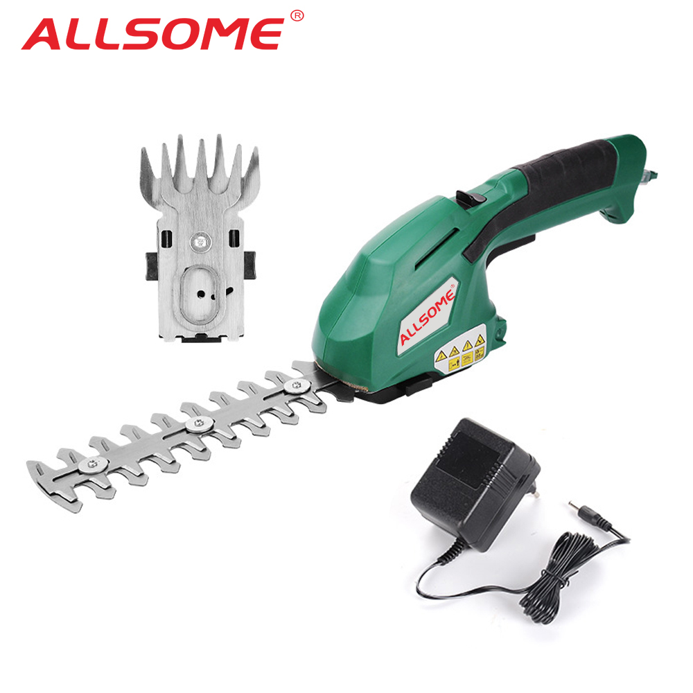 ALLSOME 2 in 1 Electric Trimmer 7 2V Lithium-ion Cordless Hedge Trimmer Rechargeable Weeding Shear Household Pruning Mower