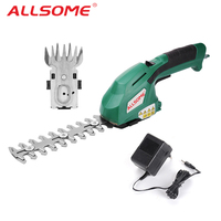 ALLSOME 2 in 1 Electric Trimmer 7.2V Lithium ion Cordless Hedge Trimmer Rechargeable Weeding Shear Household Pruning Mower