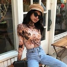 Fashion Palace Printed Transparent Mesh Crop Top Long Sleeve Slim tshirt 2019 Women Tops