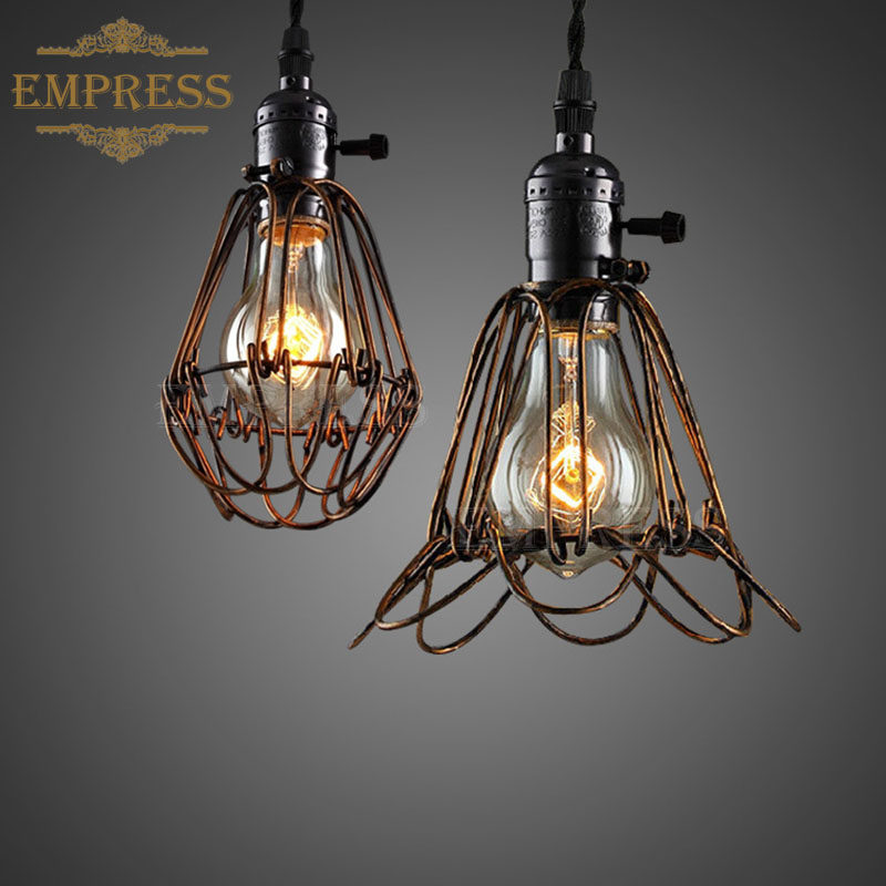 Online shop laingderfu iron vintage wire lamp cage diy industrial birdcage lights iron wire lamp cage retro lampshade vintage industrial lamp guard metal edison bulb light greentooth Choice Image