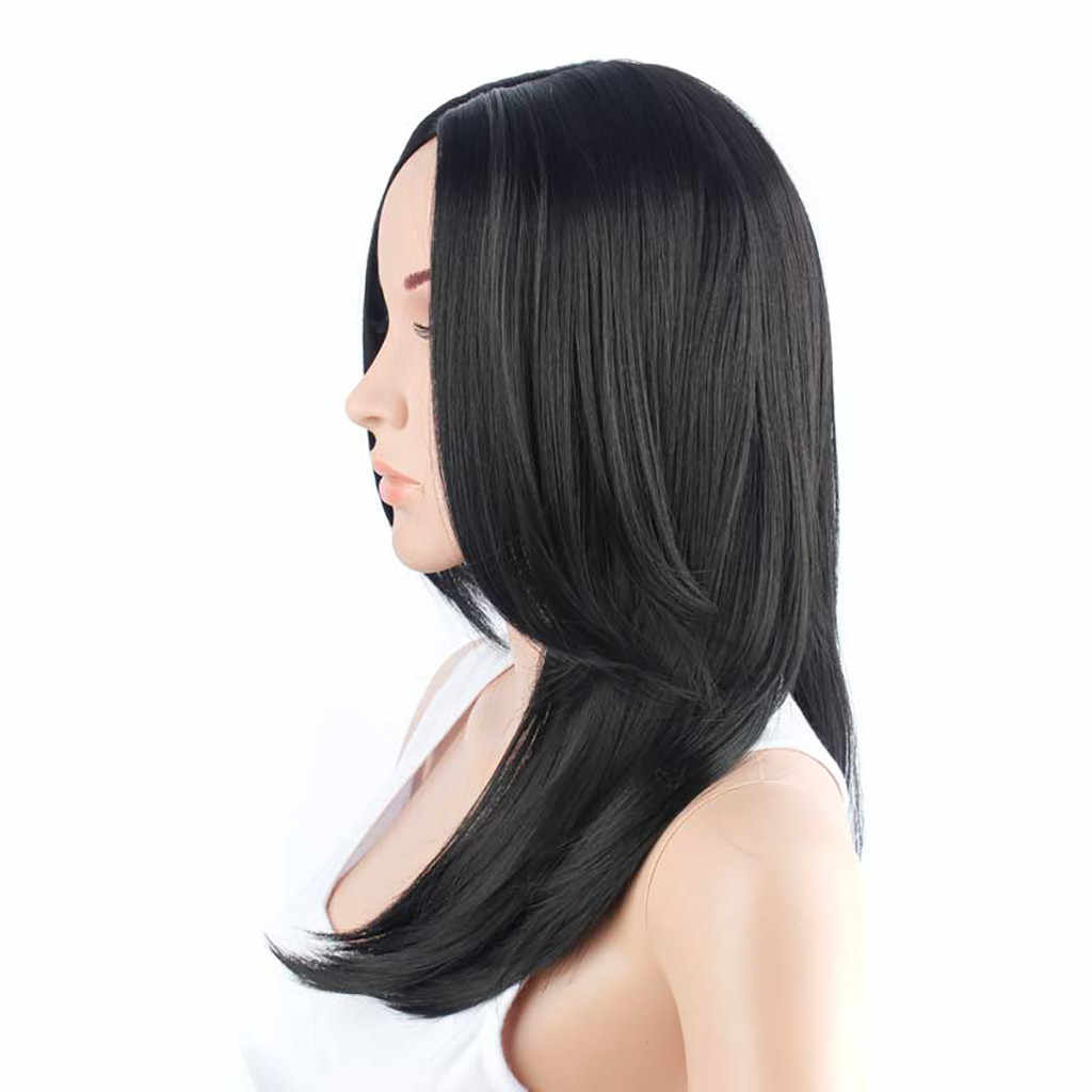 Women's Fashion Straight Wig Black Synthetic Hair Long Wigs Synthetic Wig Fashion Hair Human Hair Wigs For Woman Slove RosaF6.5