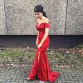 Sexy Red Celebrity Dresses off Shoulder Satin Mermaid Formal Evening Gowns Split Simple Prom Dress Cheap Sweep Train Vestidos