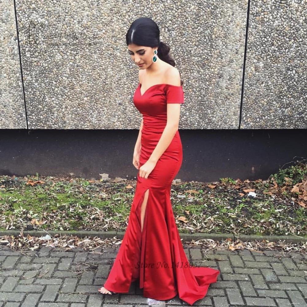 Vestidos de Celebridades Fora do Ombro de Cetim Vestidos de Noite Vestido de Baile Sexy Vermelho Sereia Formais Dividir Sweep Trem Vestidos Simples Baratos