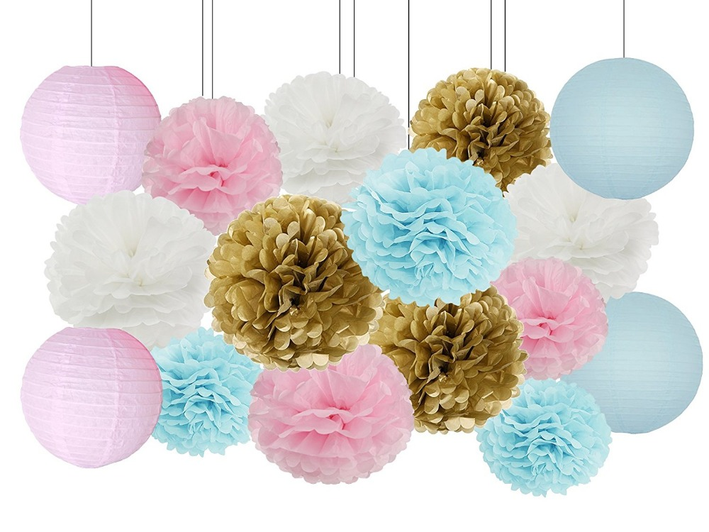 Tireless Gender Reveal Party Supplies Boy Or Girl Baby Shower Decorations Baby Blue Pink White Gold Tissue Paper Pom Pom Paper Lanterns Rich And Magnificent Other Mobility & Disability