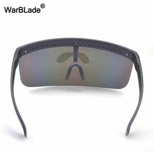 Image 5 - WarBLade yeni büyük boy kalkan siperliği güneş gözlüğü kadın tasarımcı büyük gözlüğü çerçeve ayna güneş gözlüğü tonları erkekler rüzgar geçirmez gözlük