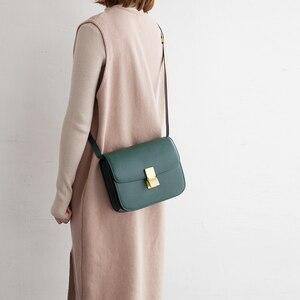 Image 4 - VENOF Fashion Split Leather Women Shoulder Bag Simple Female Crossbody Bags Terse Ladies Messenger Bags Brand bag For Women 2018