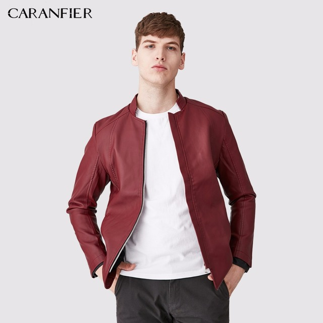 CARANFIER 2017 Men PU Faux Motorcycle Leather Red Jacket Autumn Thick Winter Warm Clothing Male Slim Section Casual Pocket Coats