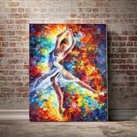 Ballett tänzer multicolor bunte ein-legged rotierenden springen tanz dekorative malerei abstrakte malerei DIY digitale malerei