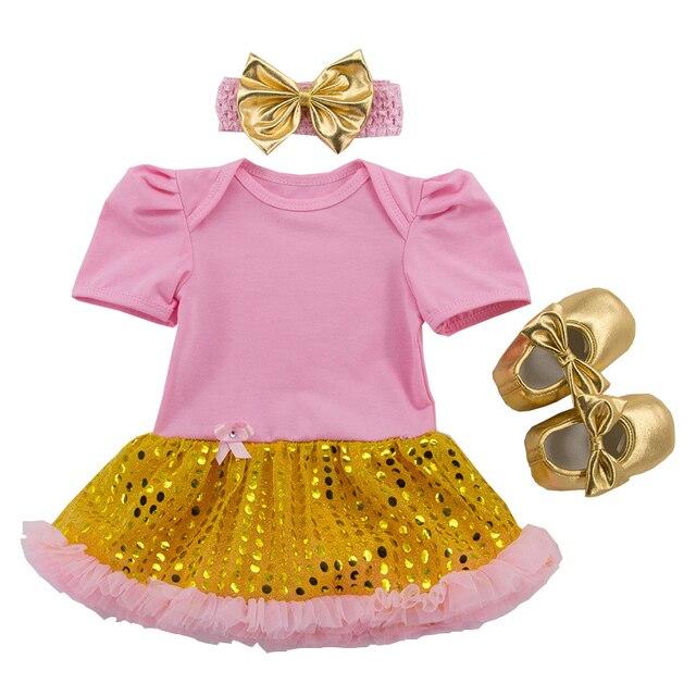 Pasgeboren Pak Korte Mouwen Gold Sequin Baby Jurk + Schoenen + Hoofdband 3 stks Zuigeling Meisje Kleding Ster Tutu jurken Vestidos Infantil