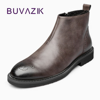 BUVAZIK men chelsea boots Genuine leather mens boots warm and comfortable chelsea boots high tops waterproof snow boots men