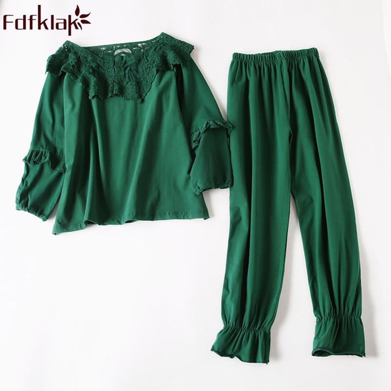 Fdfklak coton vert Pijama femmes pour peignoir d'été ensemble Pijama Mujer Sexy Pyjama femmes printemps mode ensembles de vêtements de nuit Q866