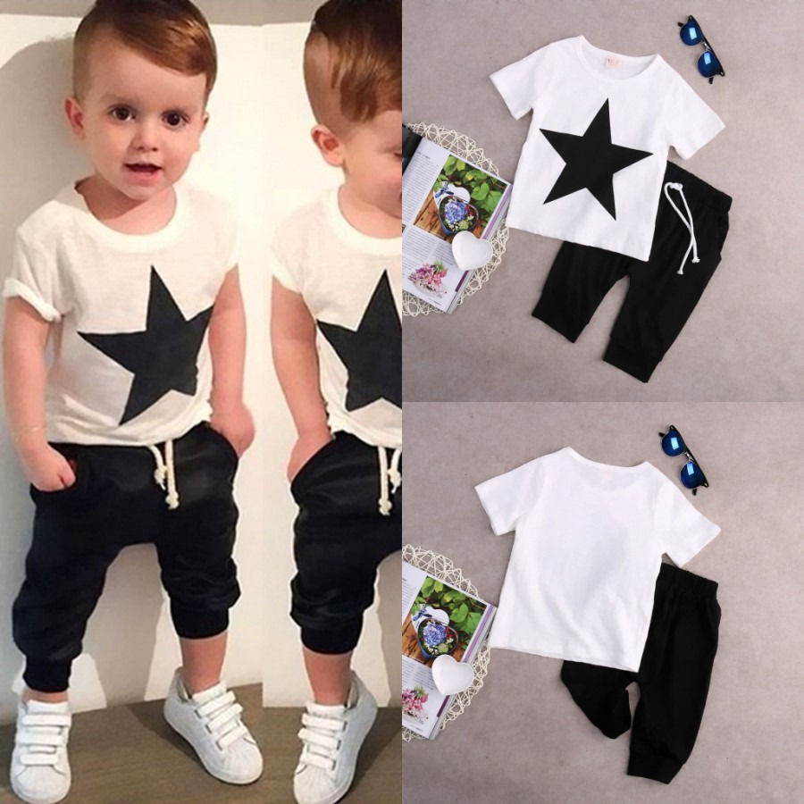 0543da7b7 US $5.97 7% OFF|T shirt Cotton White Tops Harem Pants 2pcs Clothes Sets New  Kids Baby Boys Star Outfits 2pcs Fashion Boys Clothes 2Pcs Set 2 7Y-in ...