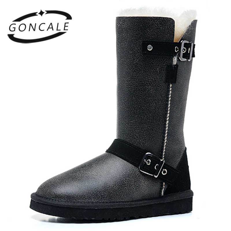 GONCALE Classic real sheepskin leather sheep fur lined high winter snow boots for women winter shoes waterproof warm Black фен remington keratin therapy pro dryer ac8000 page 6