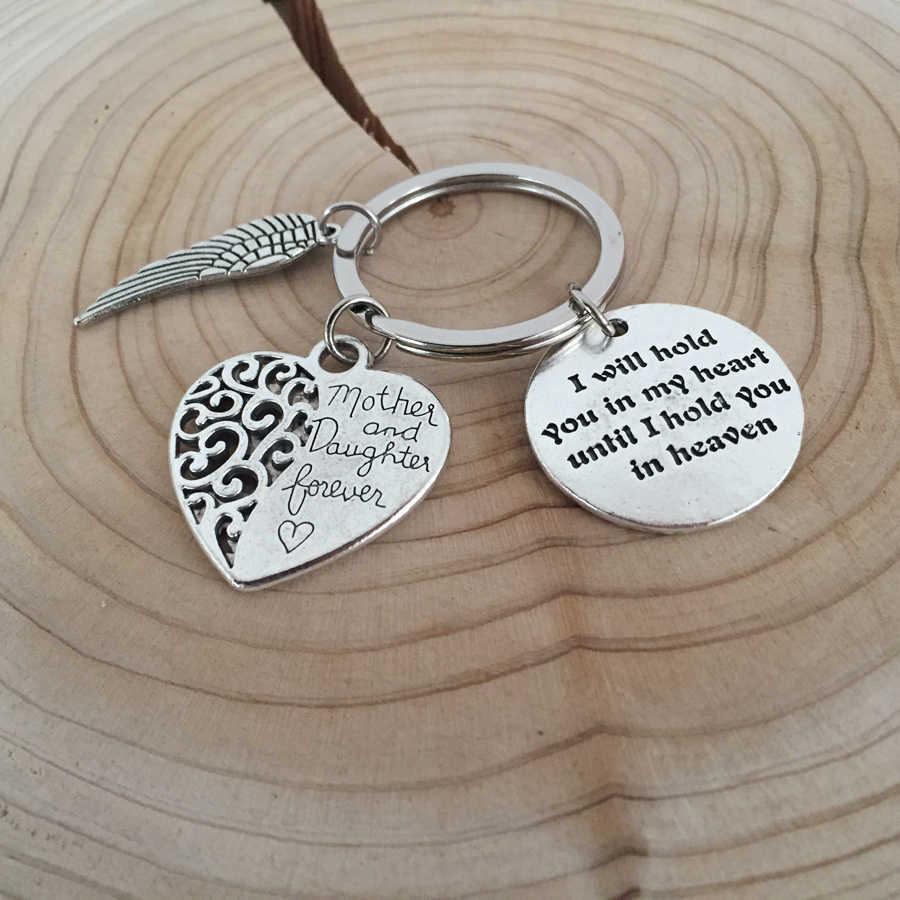 Motivation Bereavement Memorial corazón regalo madre e hija para siempre llavero Ángel ala moda DIY aleación joyería llavero