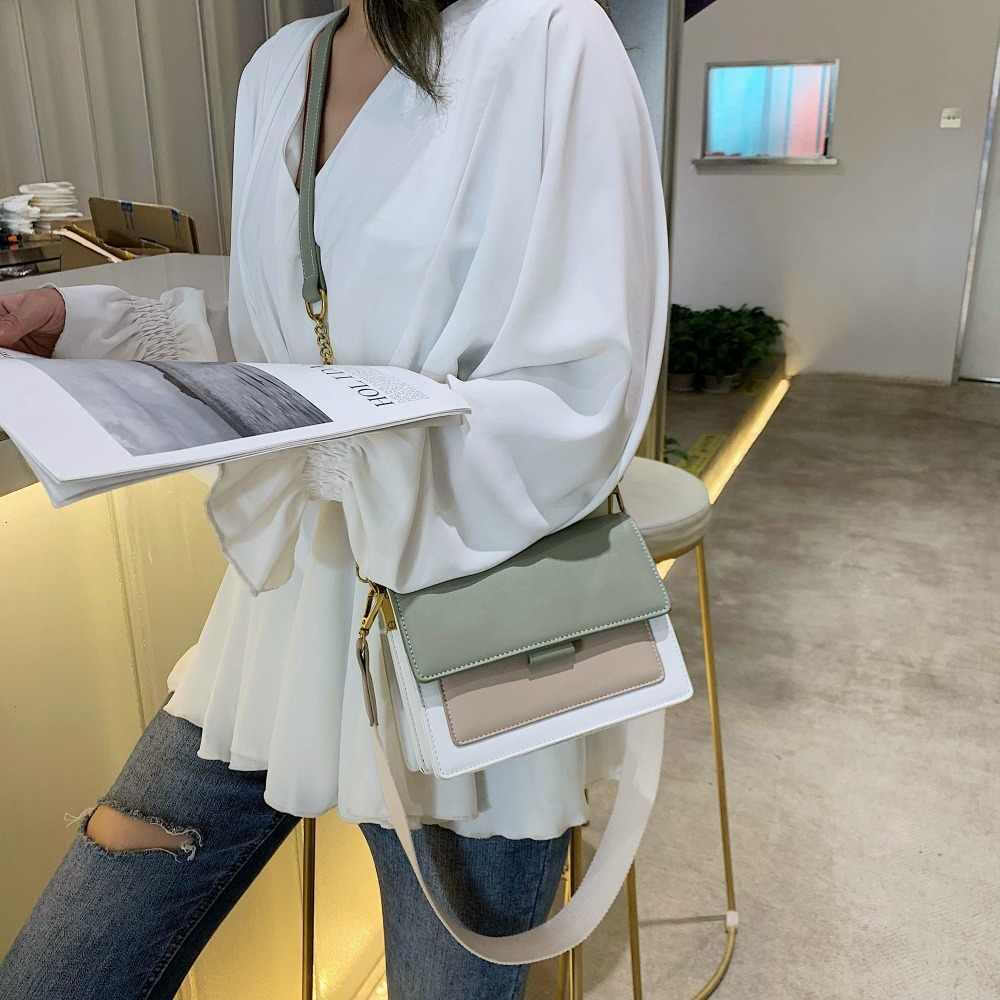 Kontrast farbe Leder Umhängetaschen Für Frauen 2020 Reise Handtasche Mode Einfache Schulter Messenger Tasche Damen Mini Klappe Tasche
