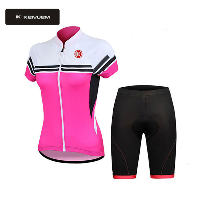 все цены на 2018 Pro Women Cycling Set 3D Gel Pad Short Sleeve Quick Dry Bike Jersey MTB Cycling Clothing Cycle Jersey Pants Sets