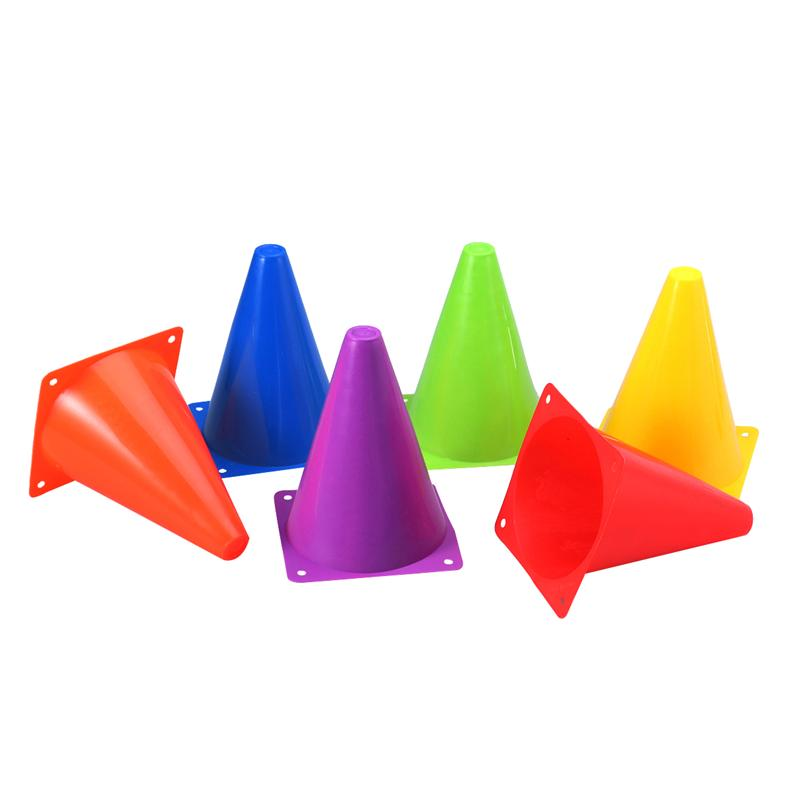 6PCS Assorted Colors Multi-purpose Plastic Cone Physical Education Sports Training Gear Soccer Training Traffic Cones