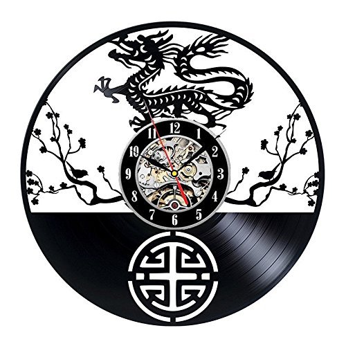 Baiao China Dragon Vinyl Record Wall Clock Unique Art Design Decorate Your Home With Modern