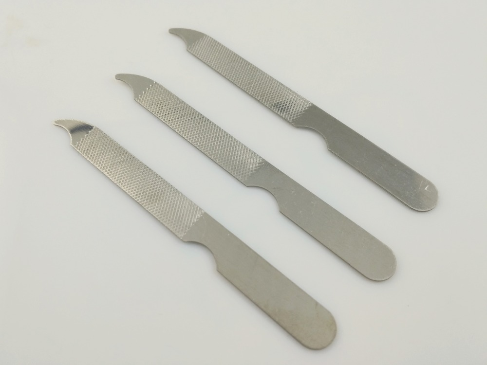3 Pcs / Lot Stainless Steel Professional Nail File Buffer Double Side Grinding Sanding Manicure Pedicure Scrub Nail Tools