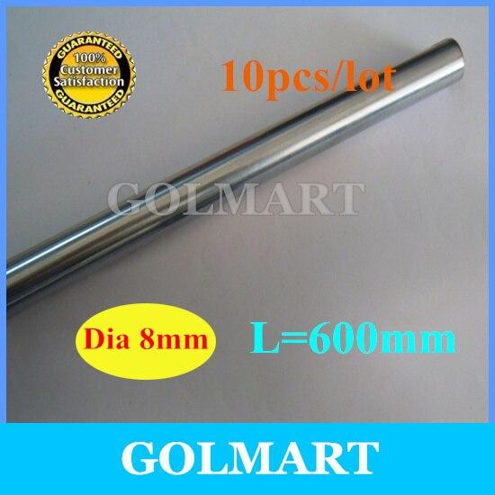 Линейный вал 10 шт. диаметр 8 мм-L 600 мм Хромовая точность закаленный стержень прямая труба круглый стержень
