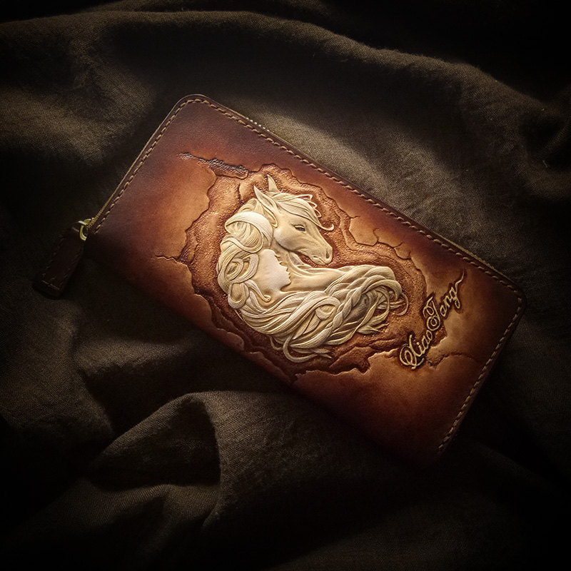 Handmade Wallets Original Design Carving Prince Charming Purses Women Long Clutch Vegetable Tanned Leather Wallet Gift nina bruhns prince charming for 1 night
