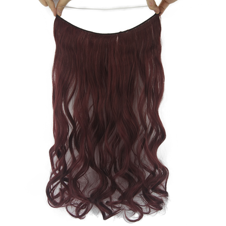 Soowee 10 Colors 60cm Long Burgundy Wavy Synthetic Hair Pad Heat Resistant Hairpieces Fish Line Halo Invisible Hair Extensions Synthetic Clip-in One Piece Hair Extensions & Wigs