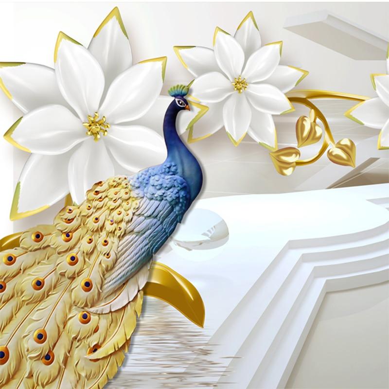 Пользовательские Любой Размер росписи 3D стены Бумага современный Ice Jade Jewelry Peacock Non-тканые стены Бумага объем Гостиная фон 3D фреска