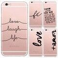 Português Palavras Amor Amor Projeto Casos de Telefone de Silicone Macio Transparente para iphone6 6 s tampa traseira para apple iphone 6 plus caso