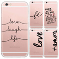 Portuguese Words Love Amor Design Transparent Soft Silicon Phone Cases For Iphone6 6s Back Cover For Apple Iphone 6 plus Case