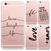 Portuguese Words Love Amor Design Transparent Soft Silicon Phone Cases For Iphone6 6s Back Cover For