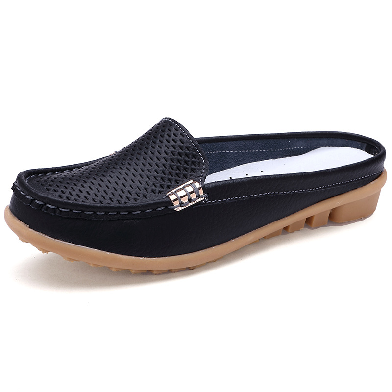 Summer Genuine Leather Women Shoes Casual Flat Loafers Peas Non Slip Soft Shoes Ladies Moccasins Footwear Plus Size 35 41 956 in Women 39 s Flats from Shoes