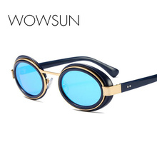 WOWSUN Moda óculos de Sol Novos óculos de Sol Oval Espelho Óculos Mulheres  Homens Famosa Marca Designer UV400 Óculos De Proteção. 9a1cc4b31e